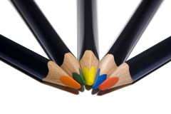 Five color pensil. On white Royalty Free Stock Photos