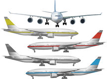Five colored airplanes on white vector illustration