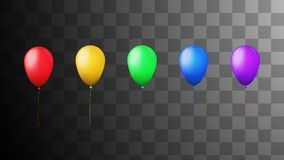 Five colored balloons. Five colored inflated balloons, red, yellow, green, blue and purple equally spaced against a faded background of gray squares royalty free illustration