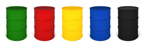Five colored barrels 3D render Royalty Free Stock Images