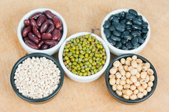 Five colored beans Stock Image