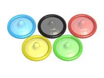 Five colored condoms Stock Photo