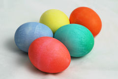 Five Colored Easter Eggs 1. A group of five brightly colored Easter eggs on a white background stock photography