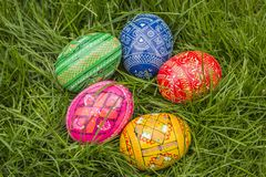 Five Colored Easter Eggs. Some Colored Easter Eggs in Grass Royalty Free Stock Image