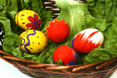 Five colored eggs. Fove easter prepared colored eggs Stock Photo