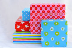 Five colored gifts on white background Royalty Free Stock Photos