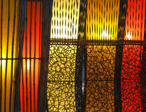 Five colored lamps background Stock Images