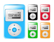 Five Colored MP3/iPod Players. 5 Colored MP3/iPod Players are against a white background. Colors include blue, red, green, orange and black Royalty Free Stock Image