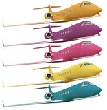 Five colorful airplanes with clipping path Stock Photography