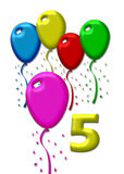Five colorful balloons Royalty Free Stock Images