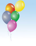 Five colorful birthday or party balloons Royalty Free Stock Images