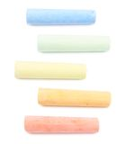 Five colorful chalks Stock Photo