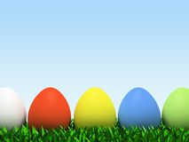 Five colorful eggs in row isolated on white background. 3D Stock Image