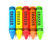 Five Colorful Erasers. A group of five bright colorful erasers Stock Photography