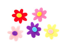 Five colorful felt flowers Stock Photography