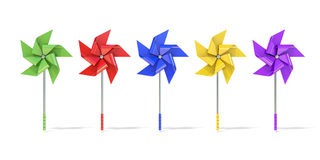 Five colorful five sided pinwheels Royalty Free Stock Photos