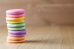 Five colorful french macaron Royalty Free Stock Photo