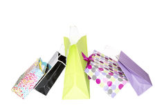 Five colorful gift bags. On white background Stock Images