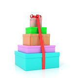 Five colorful gift boxes wrap with red ribbon and bow. Isolated on a white background Royalty Free Stock Photo