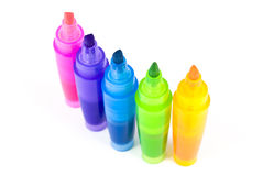 Five Colorful Highlighters Stock Images