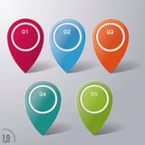 Five Colorful Infographic Markers Royalty Free Stock Photography