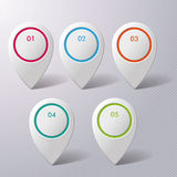 Five Colorful Infographic Markers Royalty Free Stock Photo