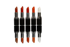 Five colorful lipsticks Stock Photo