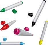 Five colorful markers royalty free stock photography