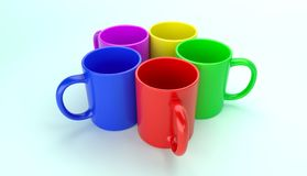 Five colorful mugs 3D render stock image
