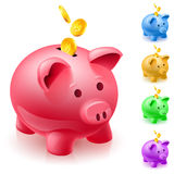 Five colorful piggy banks. Illustration of designer on  white background Royalty Free Stock Photos