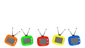 Five retro televisors on white background copy space. Five colorful retro televisors on white background copy space Stock Photography