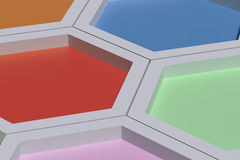 Five colorful three-dimensional hexagons Royalty Free Stock Image