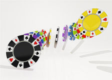 Five colorful types of poker chips air composition Royalty Free Stock Photography