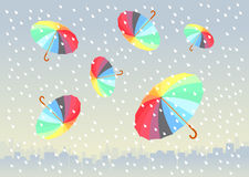 Five colorful umbrellas flying under city. Five colorful umbrellas flying under big city. It is raining stock illustration