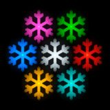 Five colorful vintage light bulb snowflakes. For New Year and Christmas design Royalty Free Stock Photos