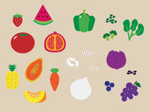 Five colors of fruits and vegetables Royalty Free Stock Photo