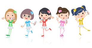 Five colors Pop idol. Five colors Cute Pop idol in costume Stock Images