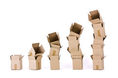 Five columns of boxes on white Royalty Free Stock Image