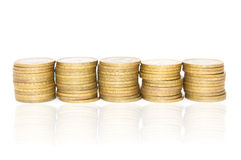 Five columns of coins Royalty Free Stock Photography