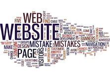 Five Common Web Design Mistakes Text Background Word Cloud Concept Stock Photo