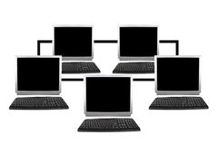 Five computers network collage Royalty Free Stock Image