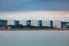 Five Condo Buildings. Five Identical Condo Buildings on the Coast of England near Southhampton Stock Photo
