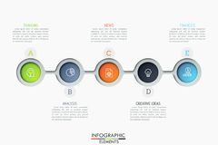 Five connected circular elements with pictograms inside and text boxes. Successive steps to revenue growth. Modern infographic design template. Vector vector illustration