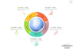 Five connected jigsaw puzzle pieces and planet in center. Features of multinational company, global business problems concept. Infographic design template Royalty Free Stock Images
