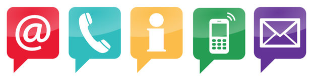 Five contact us icons set Royalty Free Stock Images