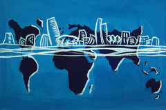 The five continents. A tempera paint showing the five continents with an imaginary city of the future in the middle stock image