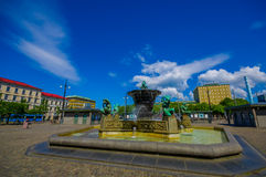 Five Continents water fountain in Jarntorget Stock Image