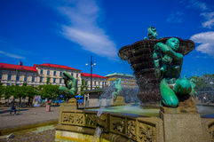 Five Continents water fountain in Jarntorget Stock Images