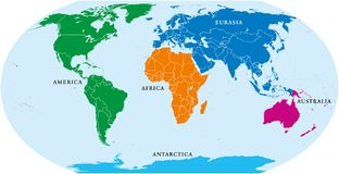 Five continents world, political map royalty free illustration