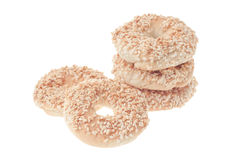 Five cookies with sesame. Isolated, on white background royalty free stock photography